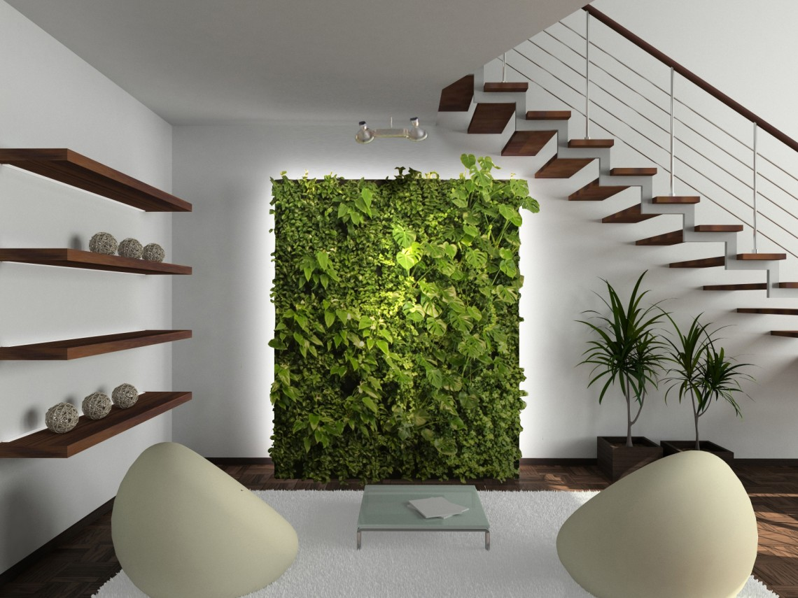 Awesome-living-room-with-a-fantastic-vertical-garden
