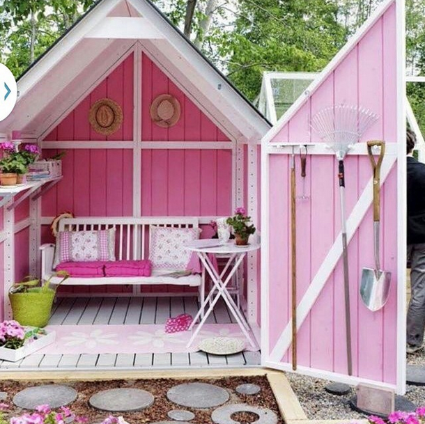 gardening-shed-shady-seating-area-bright-pink-She-Shed
